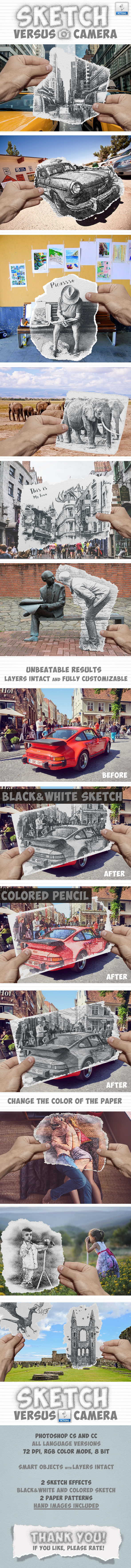 Pencil Sketch vs Camera Photo Effect Photoshop Action - Photo Effects Actions