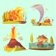Natural Disaster Retro Cartoon 2X2 Icons Set