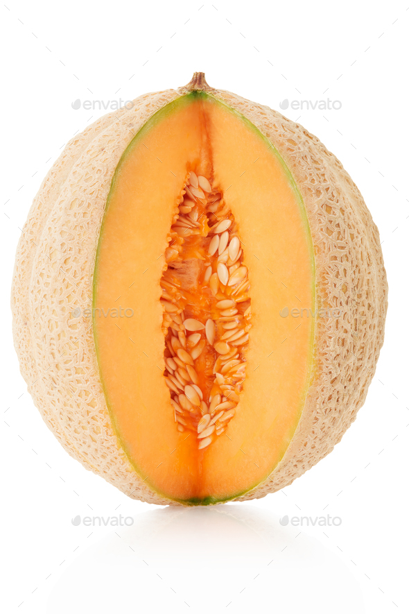 Cantaloupe melon cut isolated on white, clipping path