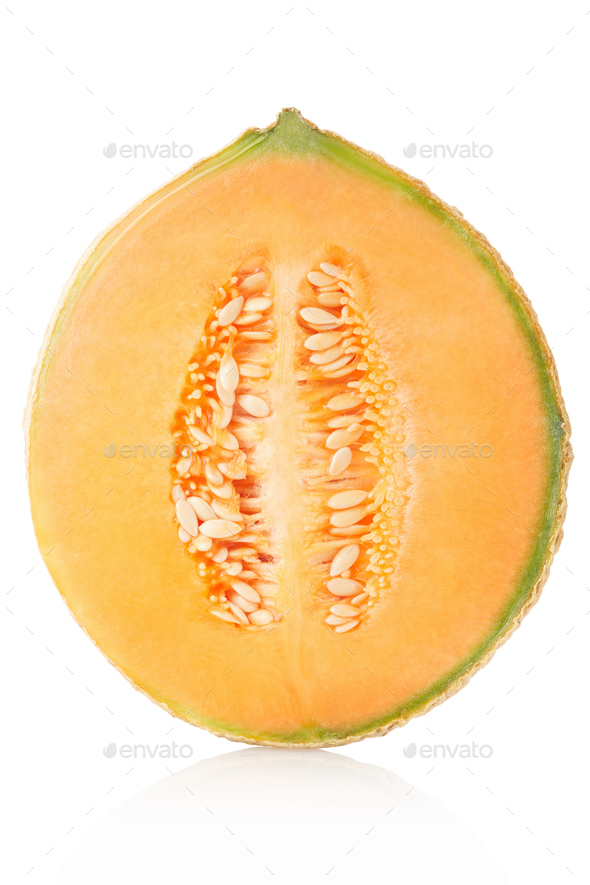 Cantaloupe melon half isolated on white, clipping path