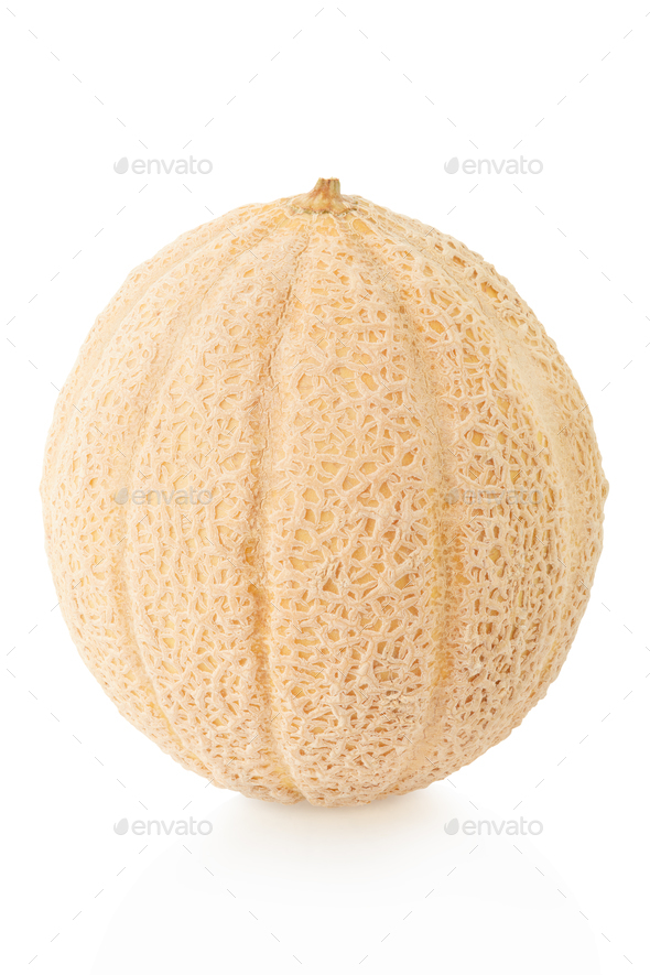 Cantaloupe melon isolated on white, clipping path