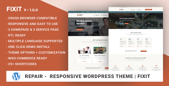 Phone, Computer Repair Shop Responsive WordPress theme – Fixit
