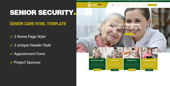 Senior Security – Senior Care HTML Template