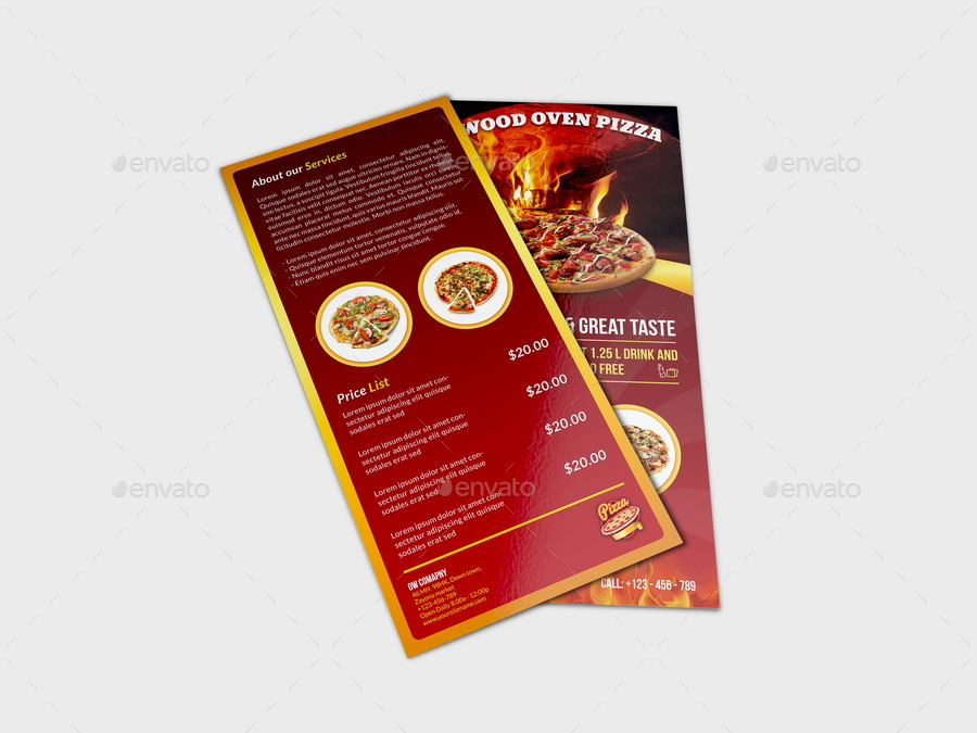 Pizza Restaurant Flyer Dl Size Template By Owpictures Graphicriver