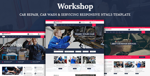 Workshop- Car Repair, Car Wash & Car Servicing HTML5 Template