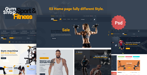 Gym_Shop eCommerce PSD Template - Shopping Retail