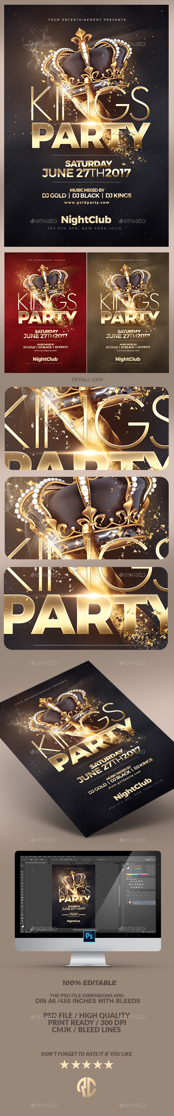 Night of Kings Party Flyer - Clubs & Parties Events