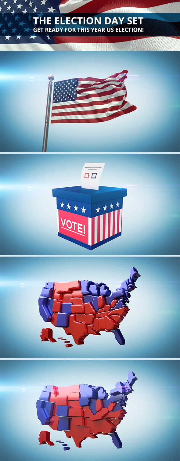 Election Day 2016 Set - 3DOcean Item for Sale
