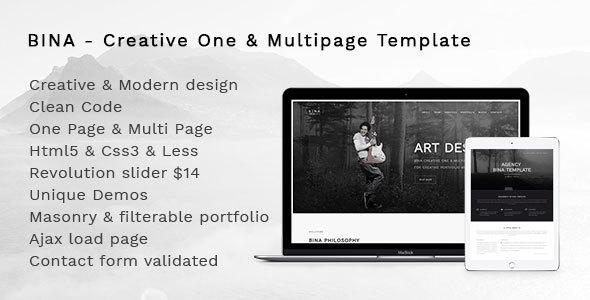 Bina - Creative OnePage & MultiPage Template - Creative Site Templates