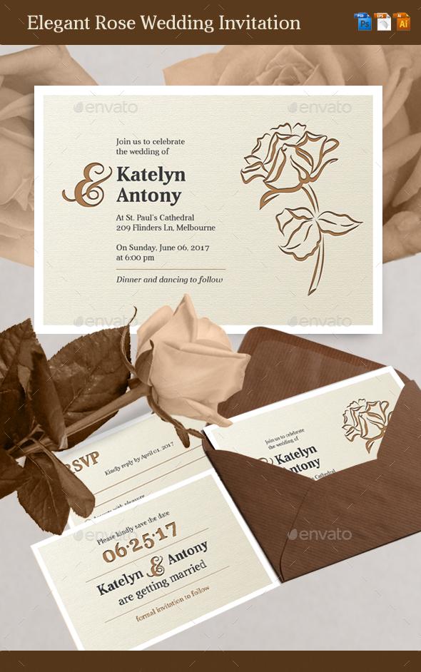 Elegant Rose Wedding Invitation - Weddings Cards & Invites