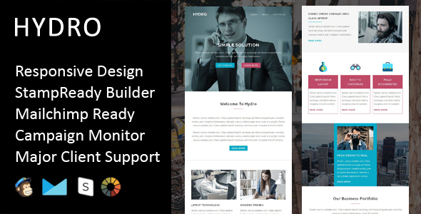 Image of Hydro - Multipurpose Responsive Email Template + Stampready Builder