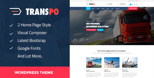 TRANSPO - Logistic & Transport WordPress theme - Business Corporate