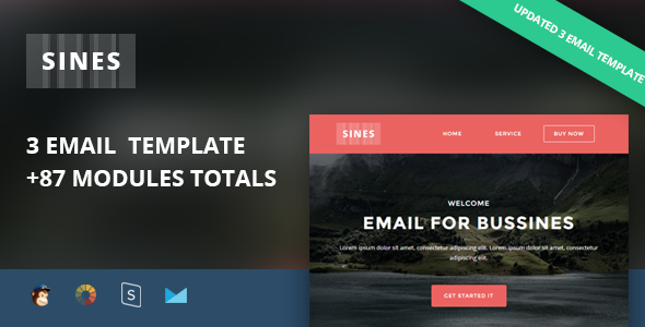 Sines - Multipurpose Responsive Email Template + Stampready Builder - Newsletters Email Templates