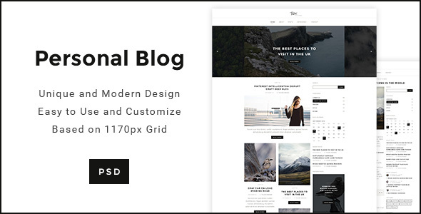 Personal Blog - Modern minimal Personal Blog Template - Personal PSD Templates