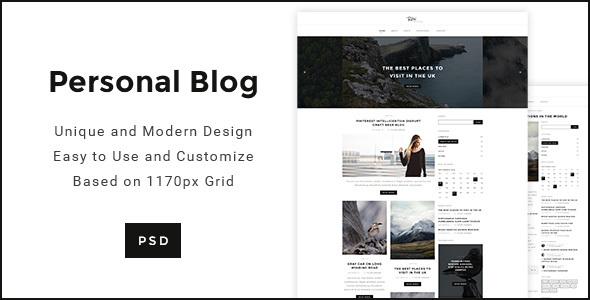 Personal Blog - Modern Minimal Personal Blog PSD - Personal PSD Templates