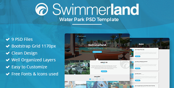 Swimmerland - Water Park PSD Template - Entertainment PSD Templates