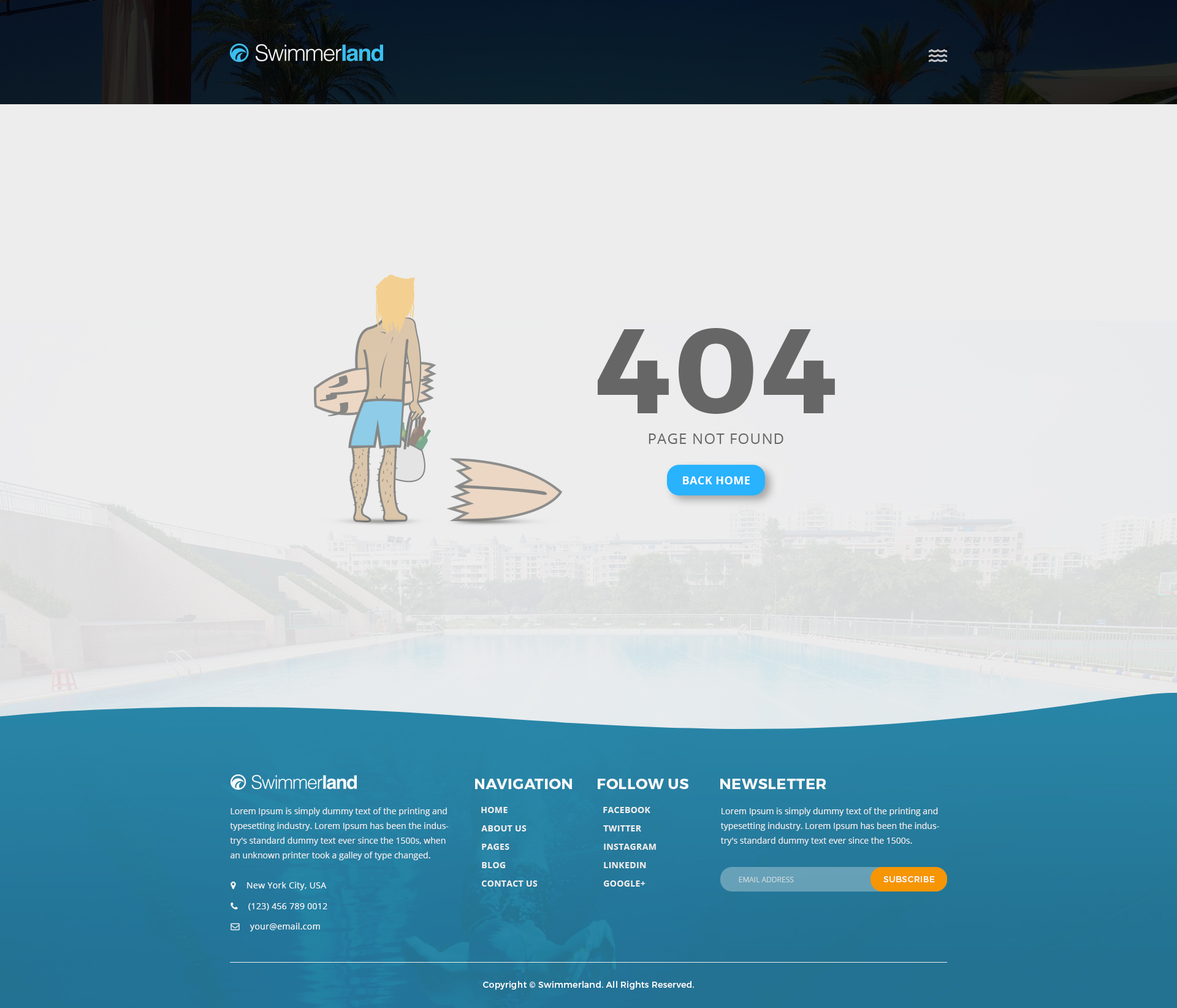 Swimmerland Water Park Psd Template By Gnodesign Themeforest