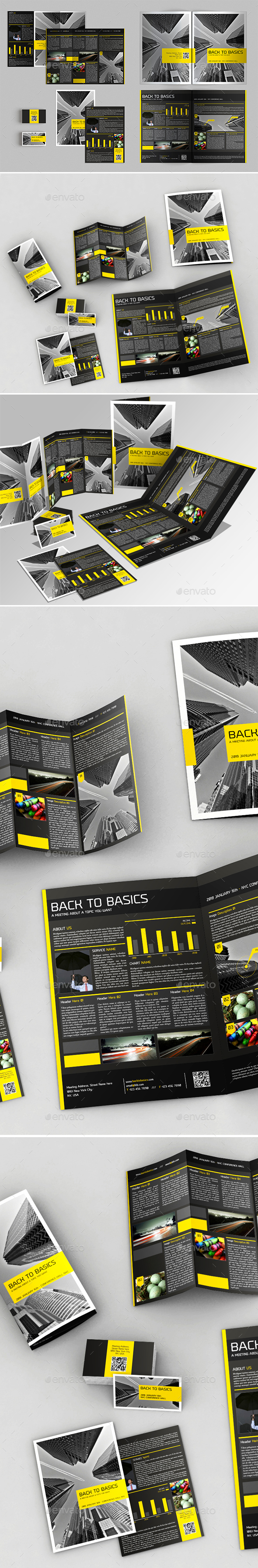4 Pages Brochure + Trifold + Flyer + Business Card - Brochures Print Templates
