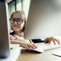 Girl Computer Technology Networknig Connection Online Concept