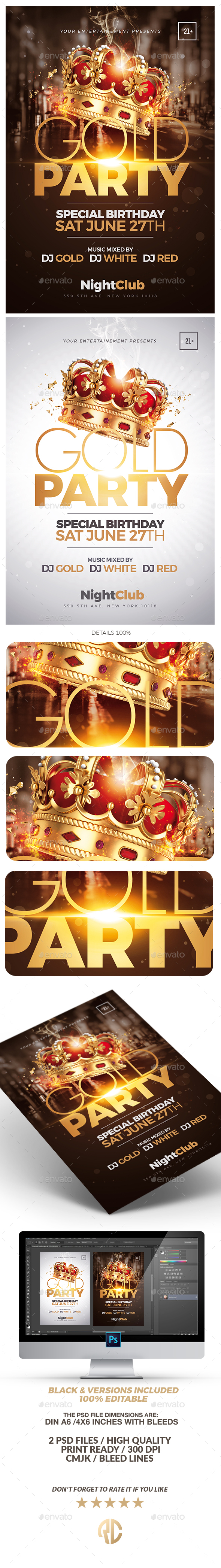 Gold Party Flyer | Special Birthday - Clubs & Parties Events