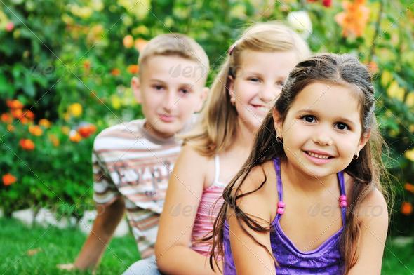 happy kids outdoor - Stock Photo - Images