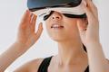 Female wearing virtual reality headset