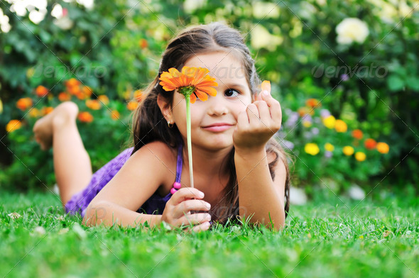 happy childredn outdoor - Stock Photo - Images