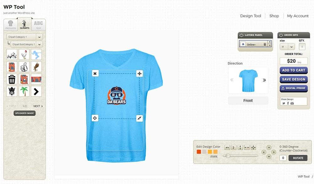 Online product designer t shirt wordpress plugin by for T shirt designer plugin