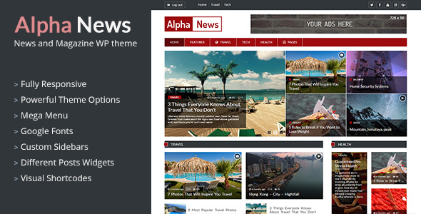 AlphaNews – Responsive News & Magazine WordPress Theme