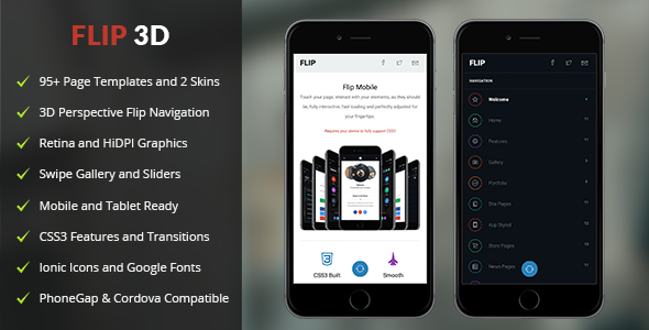 Flip 3D Mobile | Mobile Template - Mobile Site Templates