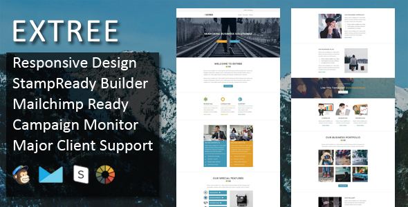Image of Extree - Multipurpose Responsive Email Template + Stampready Builder