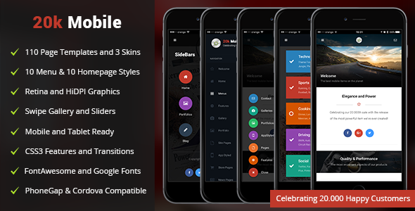 20k Mobile | Mobile Template - Mobile Site Templates