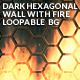Dark Hexagonal Wall With Fire Loopable Background - VideoHive Item for Sale