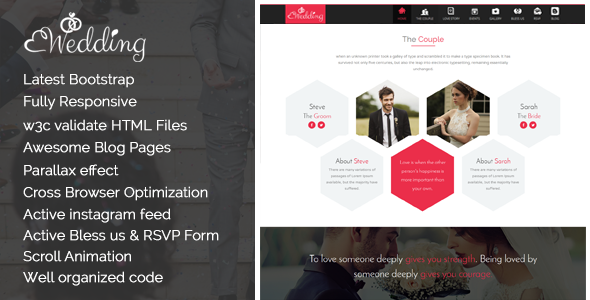 Wedding – One Page Responsive HTML Wedding Template