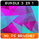 90 Low-Poly / Polygonal / Geometrical Photoshop Brushes Bundle - GraphicRiver Item for Sale
