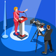 Election News Infographic Us Spokesperson Vector Isometric People - GraphicRiver Item for Sale