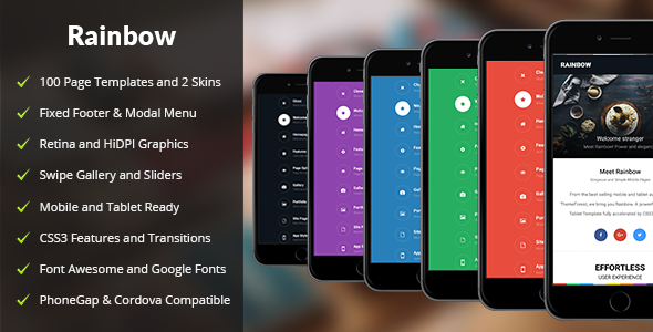 Rainbow Mobile | Mobile Template - Mobile Site Templates