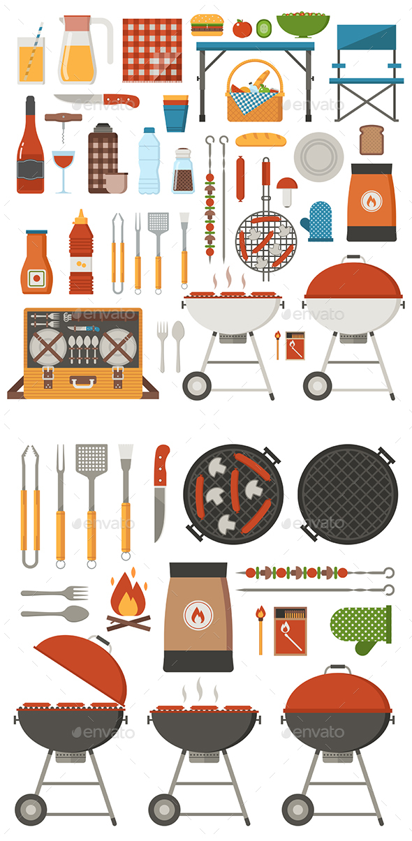Picnic and Barbecue Set - Vectors
