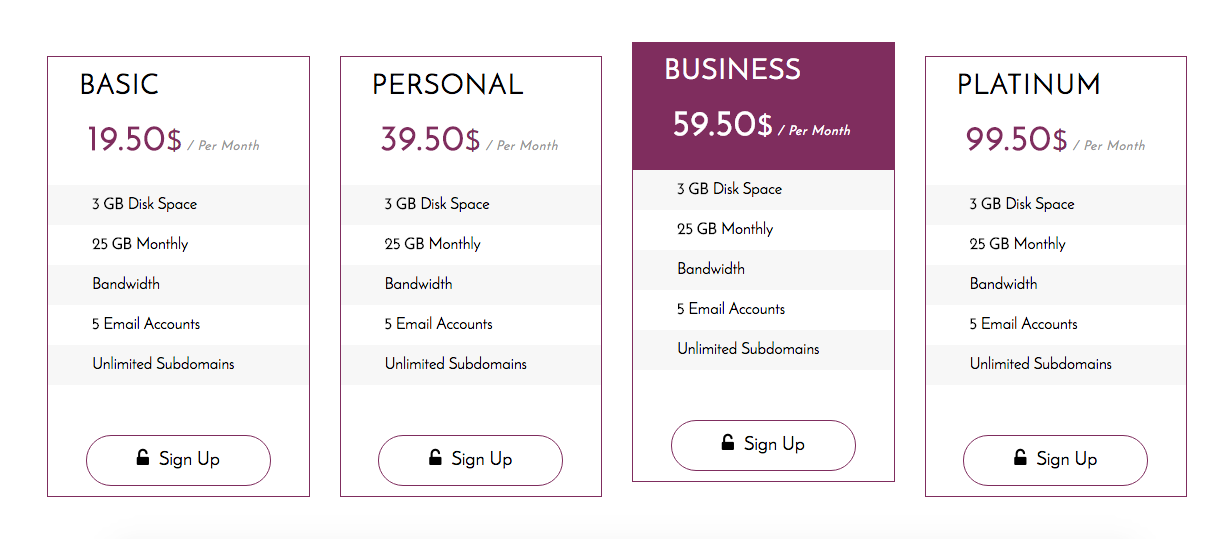 Voice responsive bootstrap pricing tables by code for Bootstrap table responsive