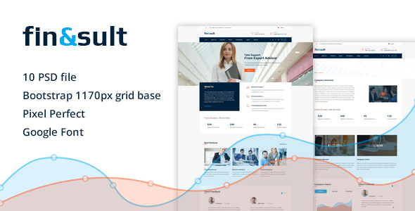 Finsult – Finance & Consulting Business PSD Template