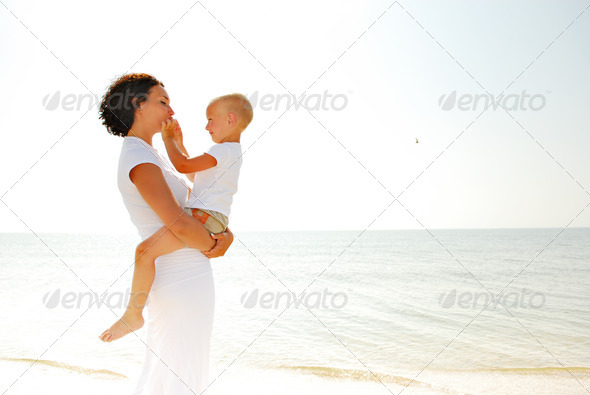 Portrait of  young happy mother with son - Stock Photo - Images