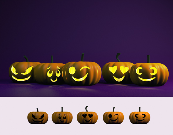 Jack o'lantern set - 3DOcean Item for Sale