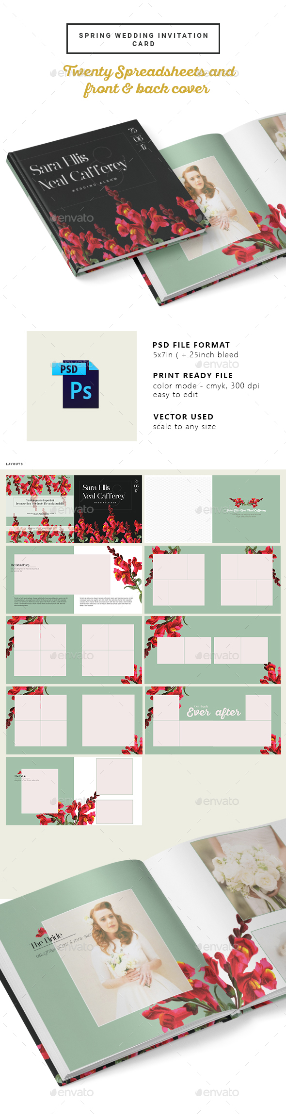 Vintage Floral Wedding Photobook/Album - Photo Albums Print Templates