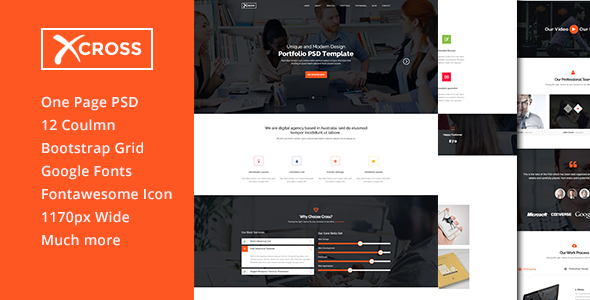 Cross One Page PSD Template
