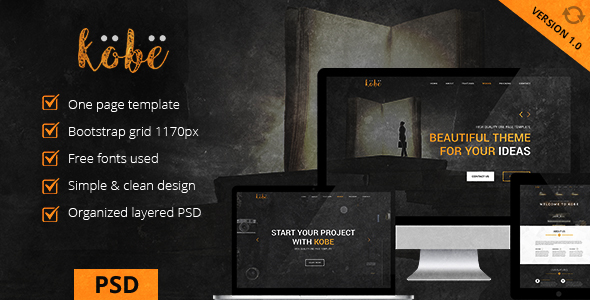 Kobe – One Page PSD Template
