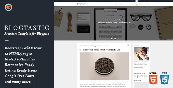 Blogtastic - Premium HTML5 Template for Bloggers - Entertainment Site Templates