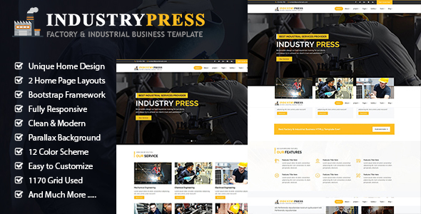 Industrypress – Factory & Industrial Business Template