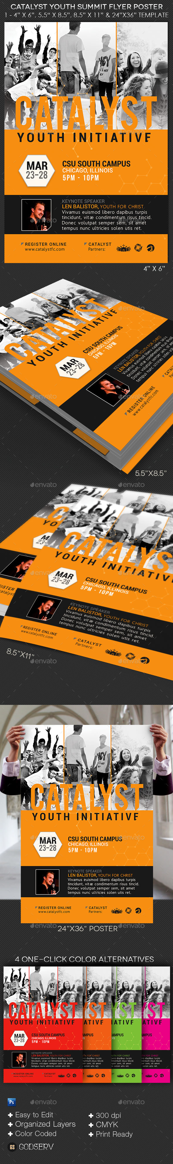 Catalyst Youth Summit Flyer Poster Template - Church Flyers
