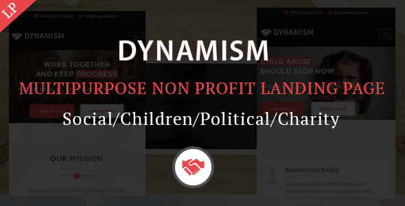 Image of Dynamism Multipurpose Nonprofit Landing Page Template
