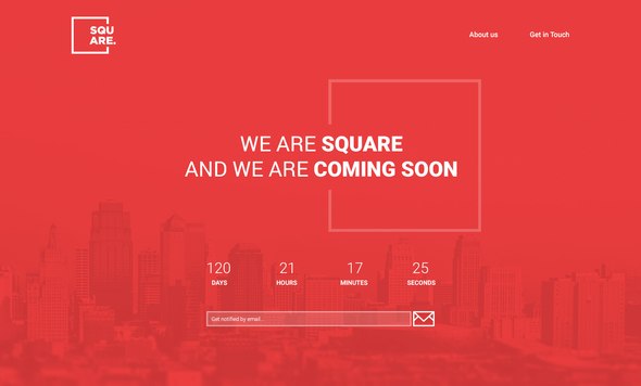 Square – PSD Coming Soon Template